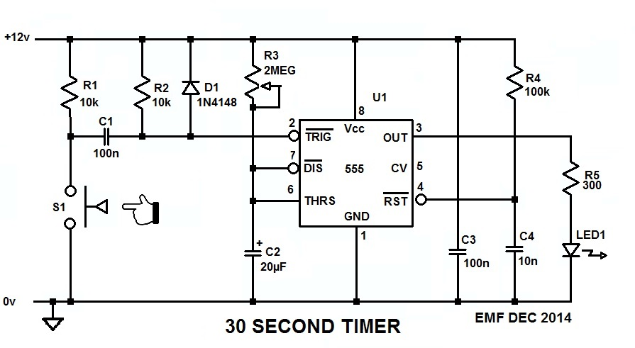 12 volt 15 second timer circuit