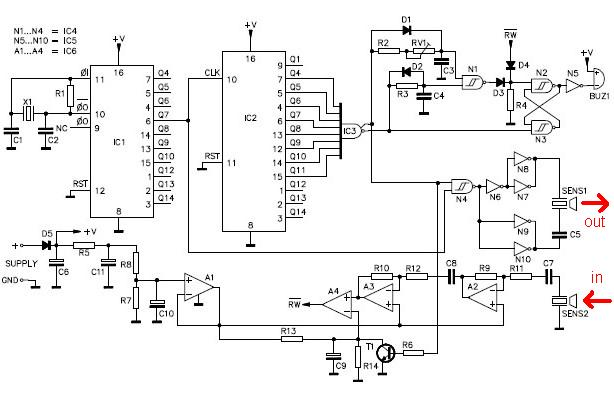 ultrasonic distance sensor circuit