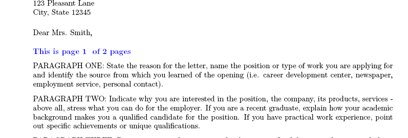 format of a personal letter
