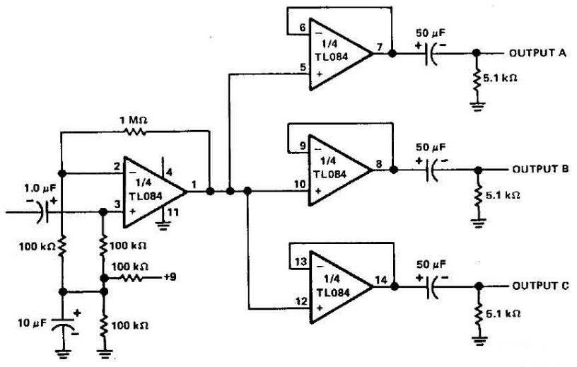 operational amplifier - Active audio splitter (Line levels
