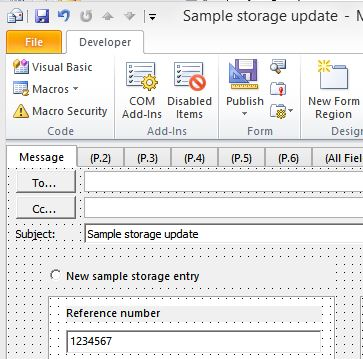 Extract value from Outlook email message custom field, and populate