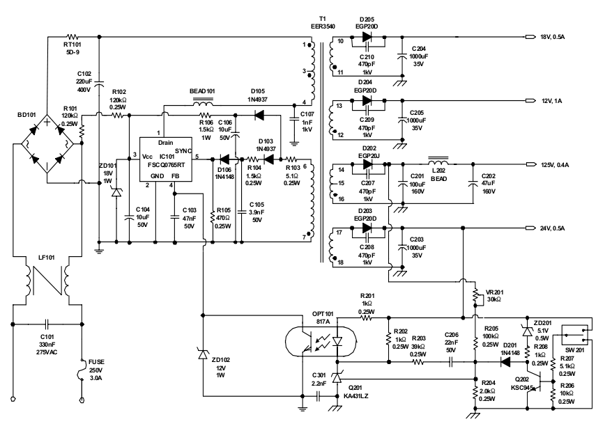 pc switch mode power supply circuit diagram