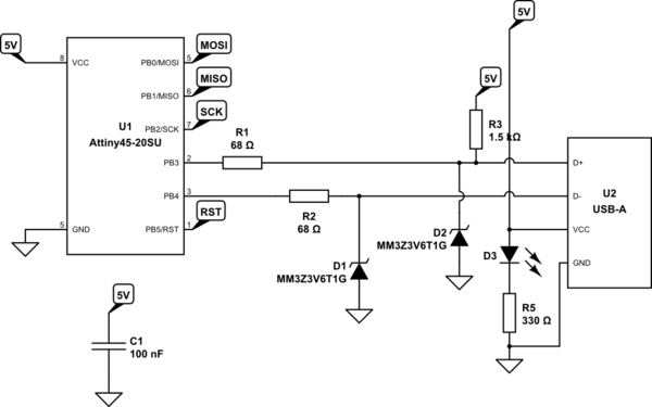 avr usb programmer circuit schematic