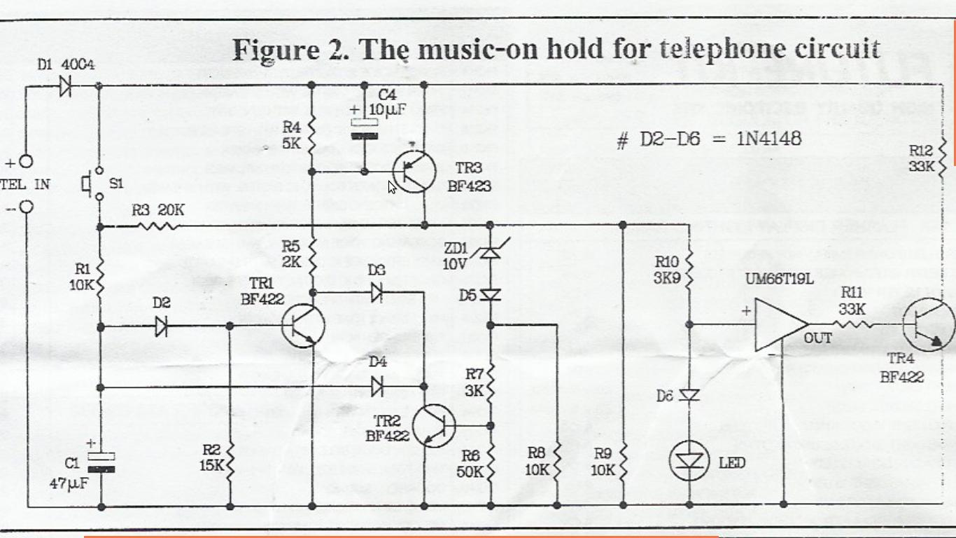 phone hold with music circuit