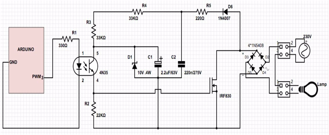 arduino - Modify PWM controlled 230v incandescent bulb dimmer