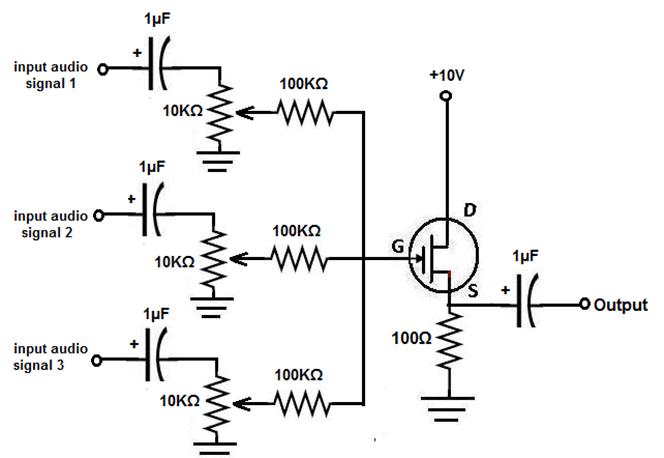 channel audio mixer circuit schematic
