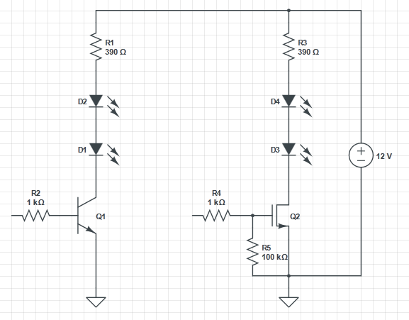 npn switch to control an led