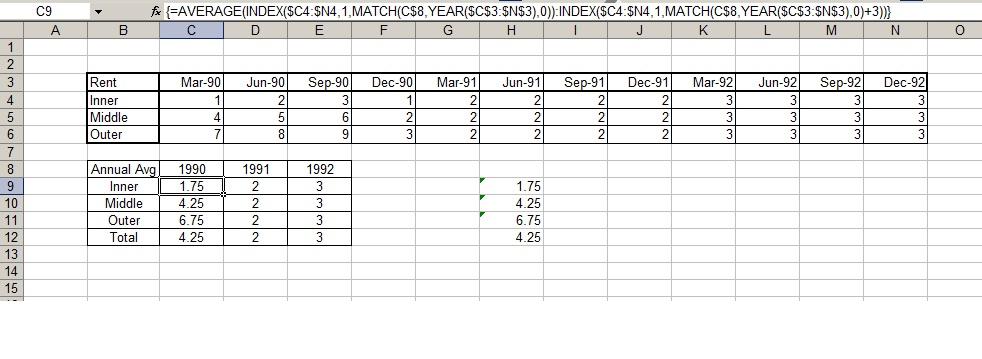 worksheet function - Moving Excel AVERAGE formula over multiple