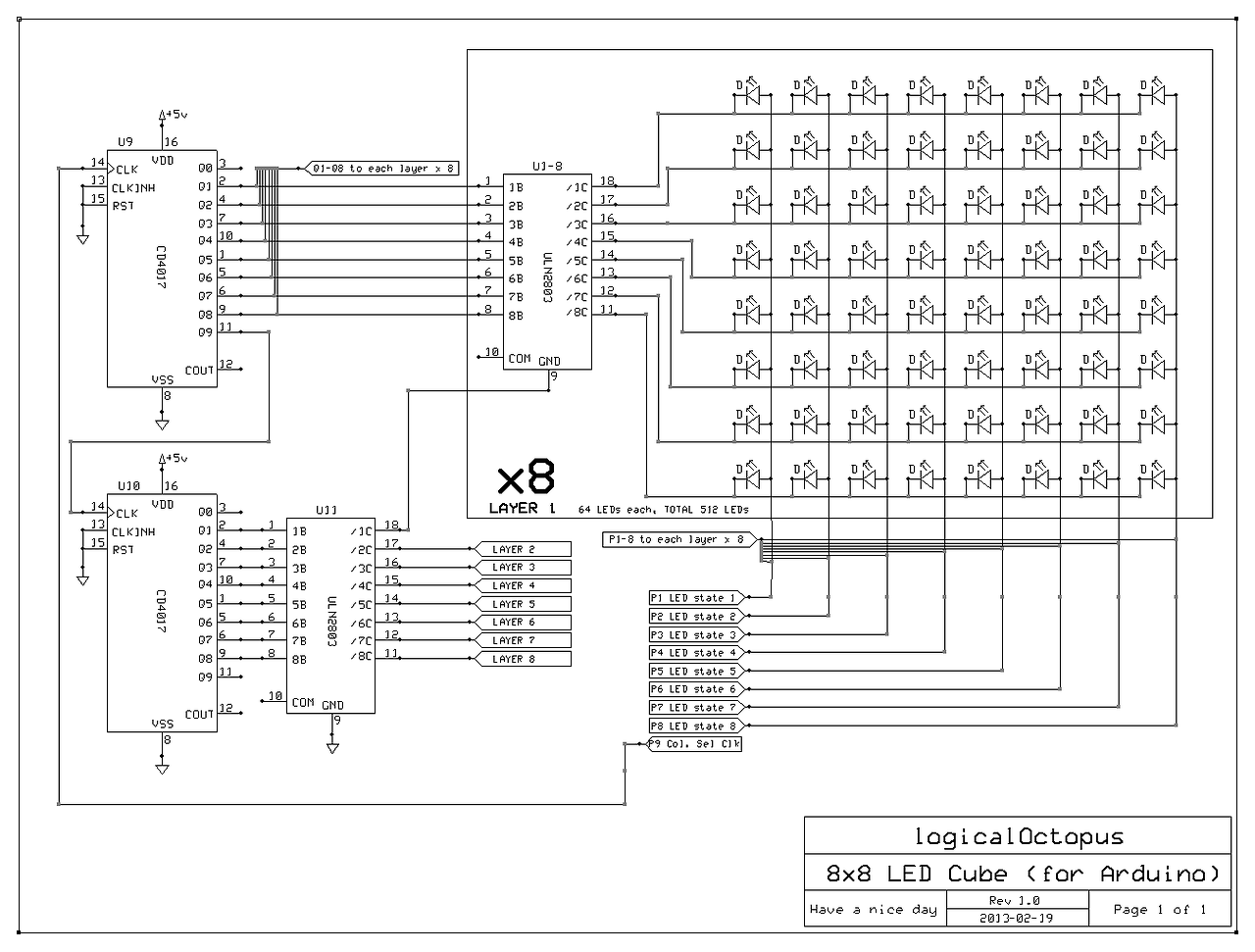 arduino help verify 8x8x8 led cube circuit electrical engineering