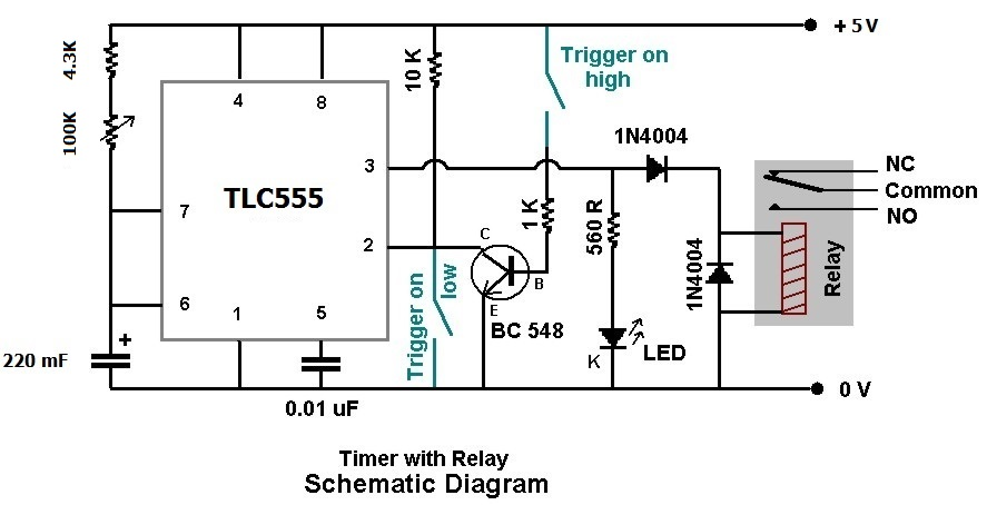 timer plus relay by ic 555