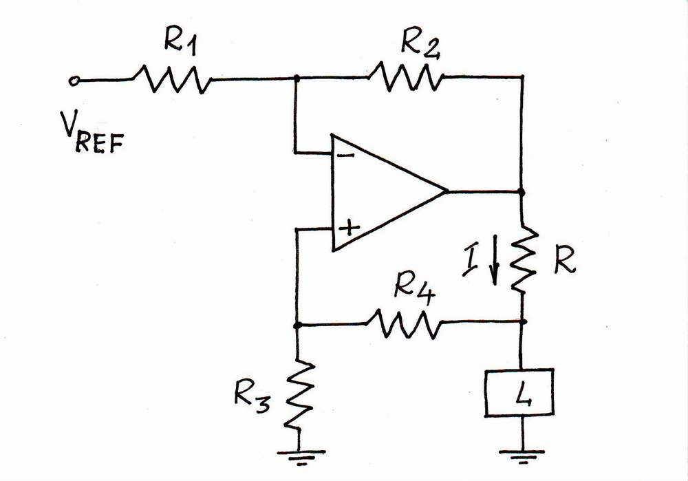 constant current source with operational amplifier espaol
