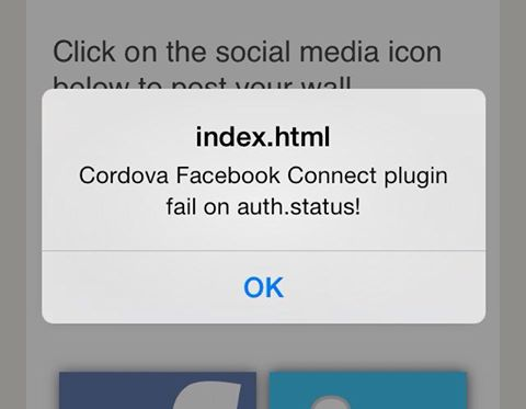 Default error message - Cordova Facebook Connect Plugin for iOS