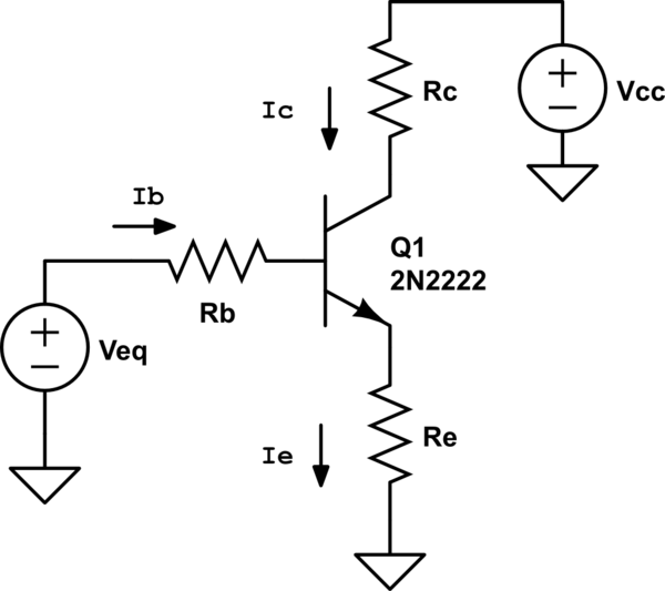 npn transistor circuit with voltages npn transistor circuit with