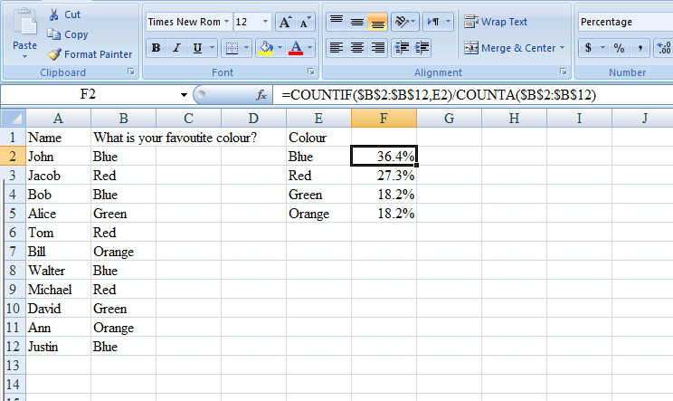 Calculate percentage of answers in Excel - Super User