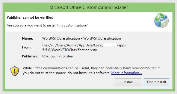 Will code signing certificate supress Microsoft Office Customization