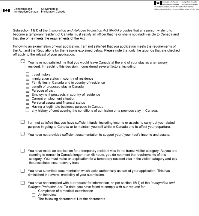canada - How can I get a copy of a Canadian visa refusal letter