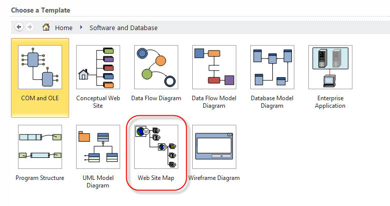 Visio 2010 Professional website map - can\u0027t find the template