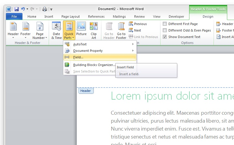 microsoft word - How to create a footer with a chapter name and page
