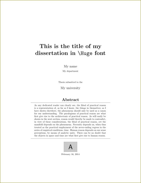 covers - Creating a Title Page for Maths dissertation - TeX - LaTeX