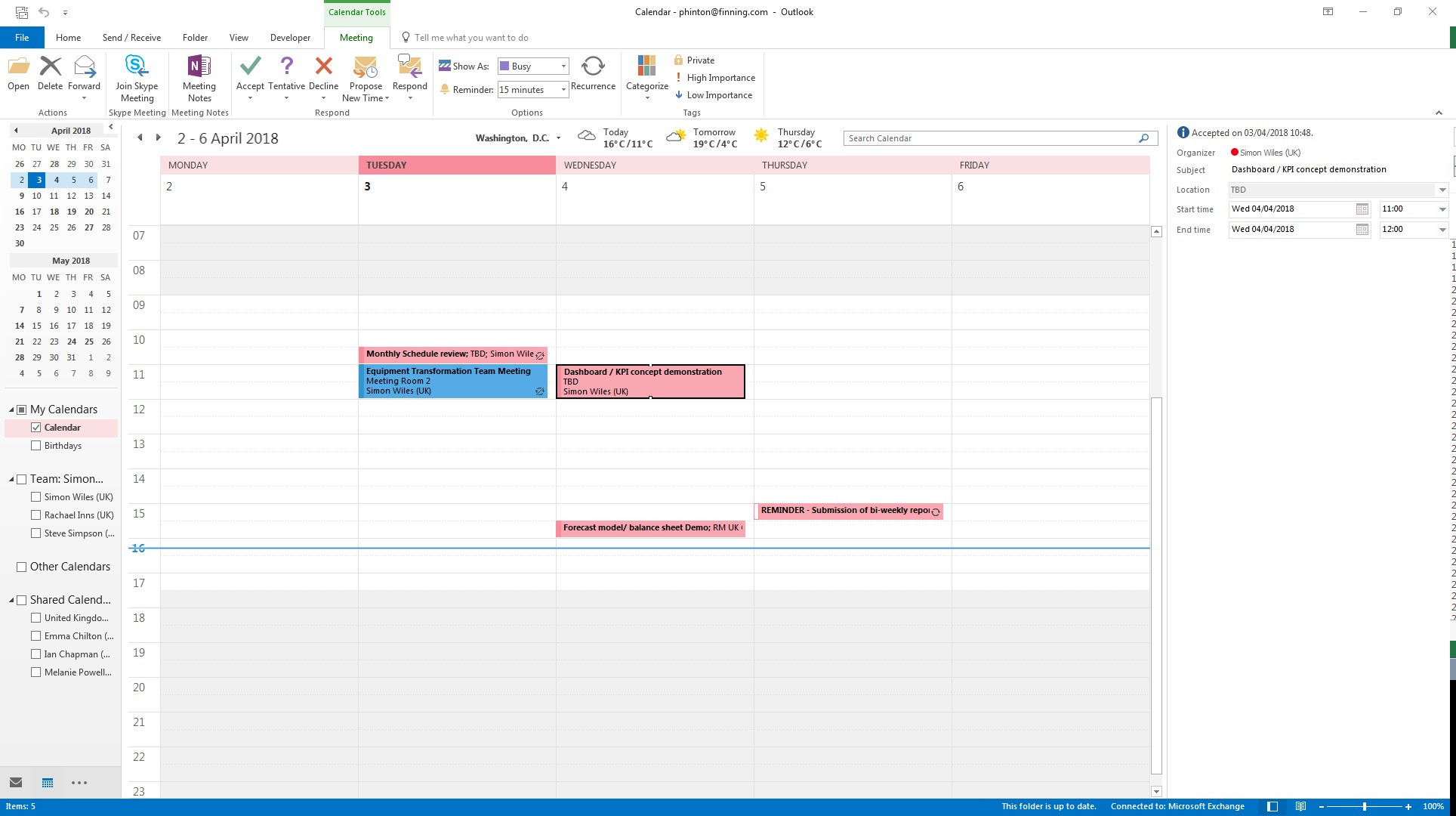 Organizer 2016 Calendar View Attendees Of A Meeting Which I Already Accepted In