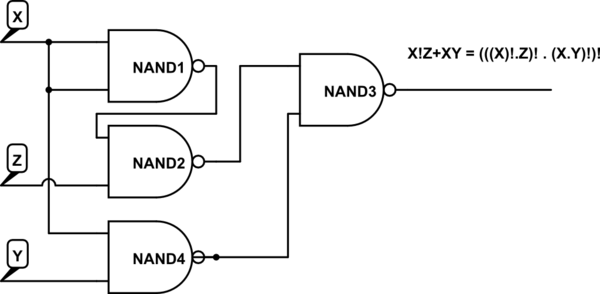 draw logic circuit using only nand gates