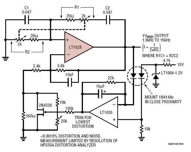 low distortion wien bridge oscillator