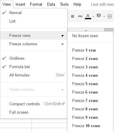 How can I create a fixed column header in Google Spreadsheet like - asa style headings
