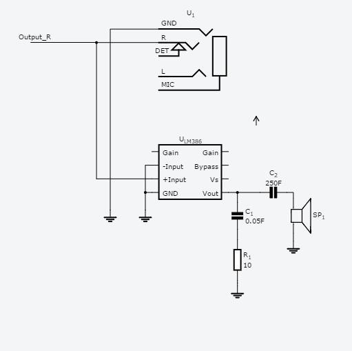 schematic of headphone jack