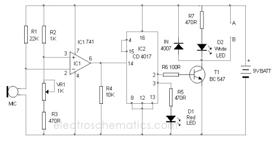 electronics engineering projecct clap switch making diagram