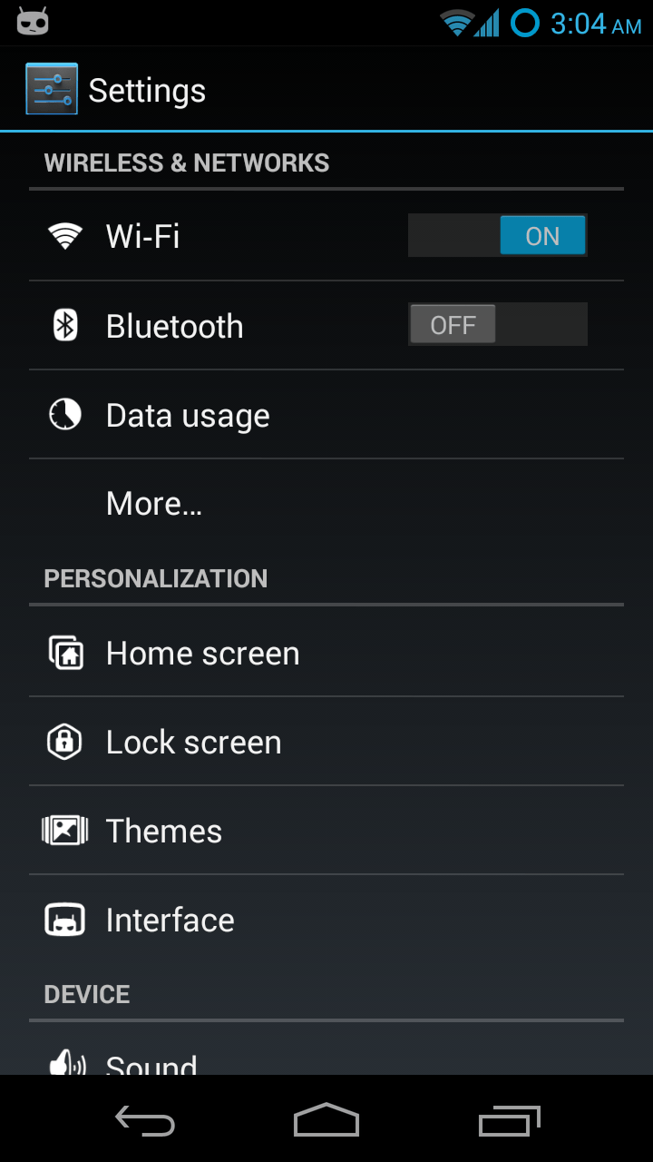 settings android