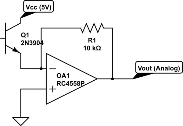 op amp phototransistor transimpedance amplifier electrical