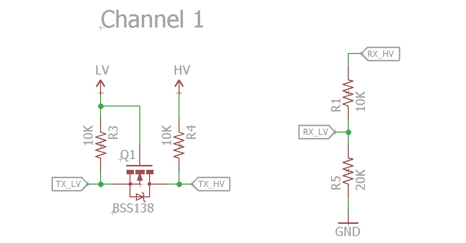 schematic of the logic level converter circuit