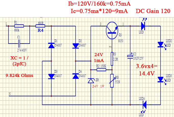 Non-isolated power supply regulated transistor LED driver circuit