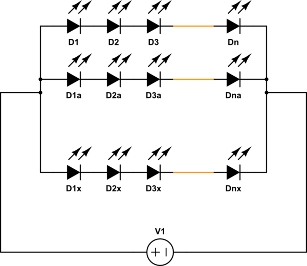 led strips in parellel with diagram
