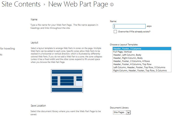 development - Sharepoint 2013 Site Content \u003e New Webpart Page