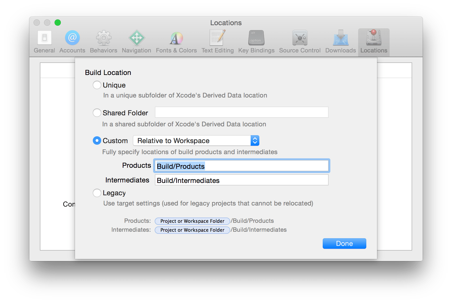 Location Console How Do I Change The Xcode Build Location To Legacy Using The