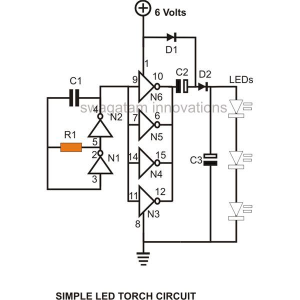five to 10led flashlight circuit runs at 3 v