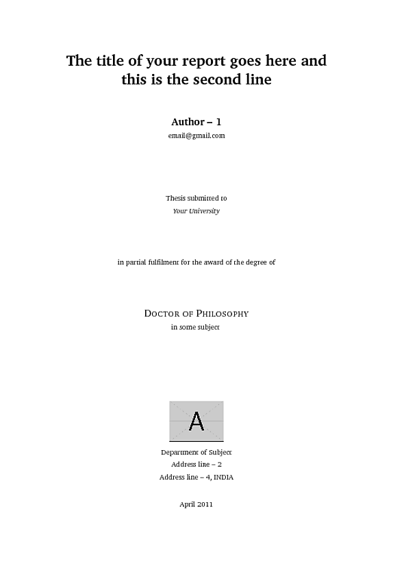 Cover page for graduate admission essay