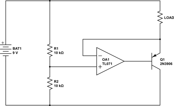 op amp op amp rail splitter virtual ground shifts when led is on