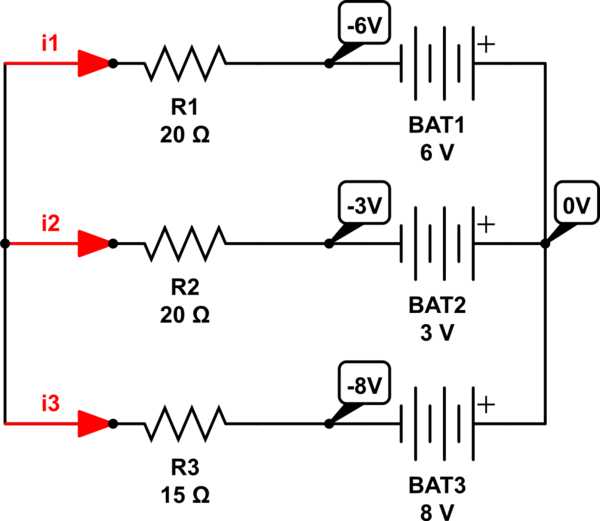 circuit with multiple batteries
