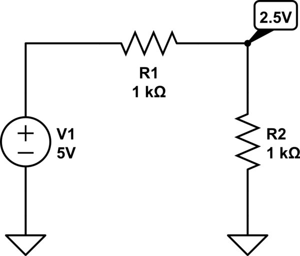 simple circuit is called a voltage divider in which two resistors