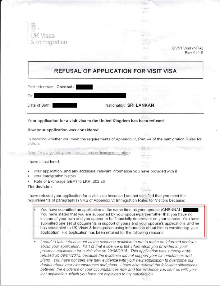 UK Visit Visa refused and false allegations stated in the refusal