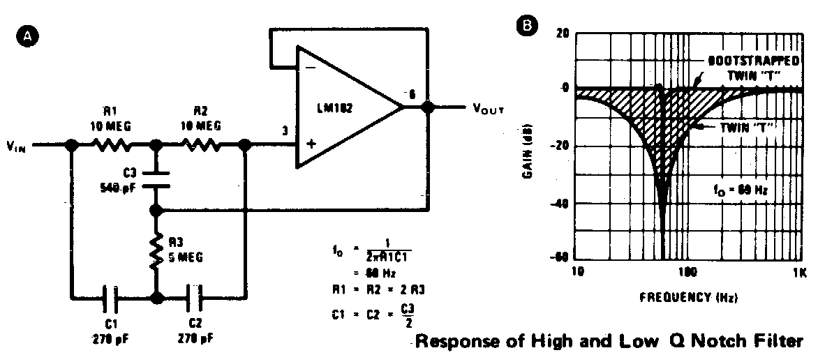 op amp twin t notch filter circuit with variable q
