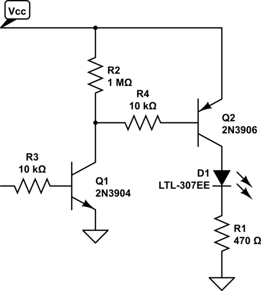 bjt use bipolar transistor to power led from a certain power on