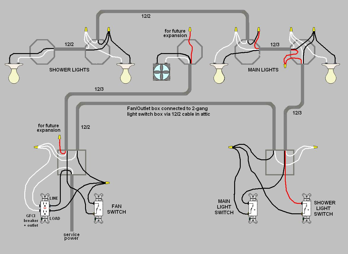 wiring receptacles and lights with a circuit