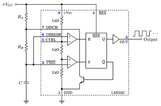 astable mode of 555 timer build circuit