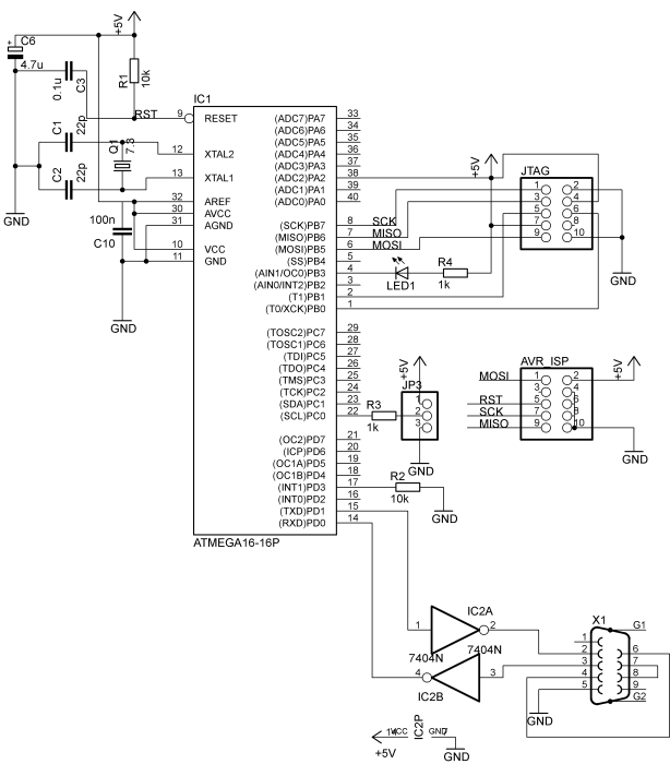 schematic of the usb programmer