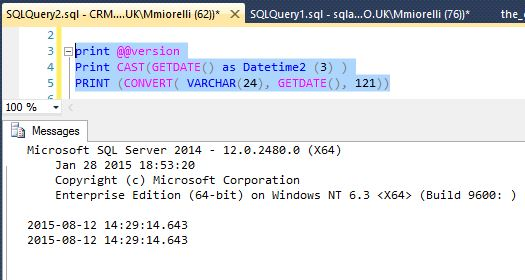 How to print GETDATE() in SQL Server with milliseconds in time - sql convert