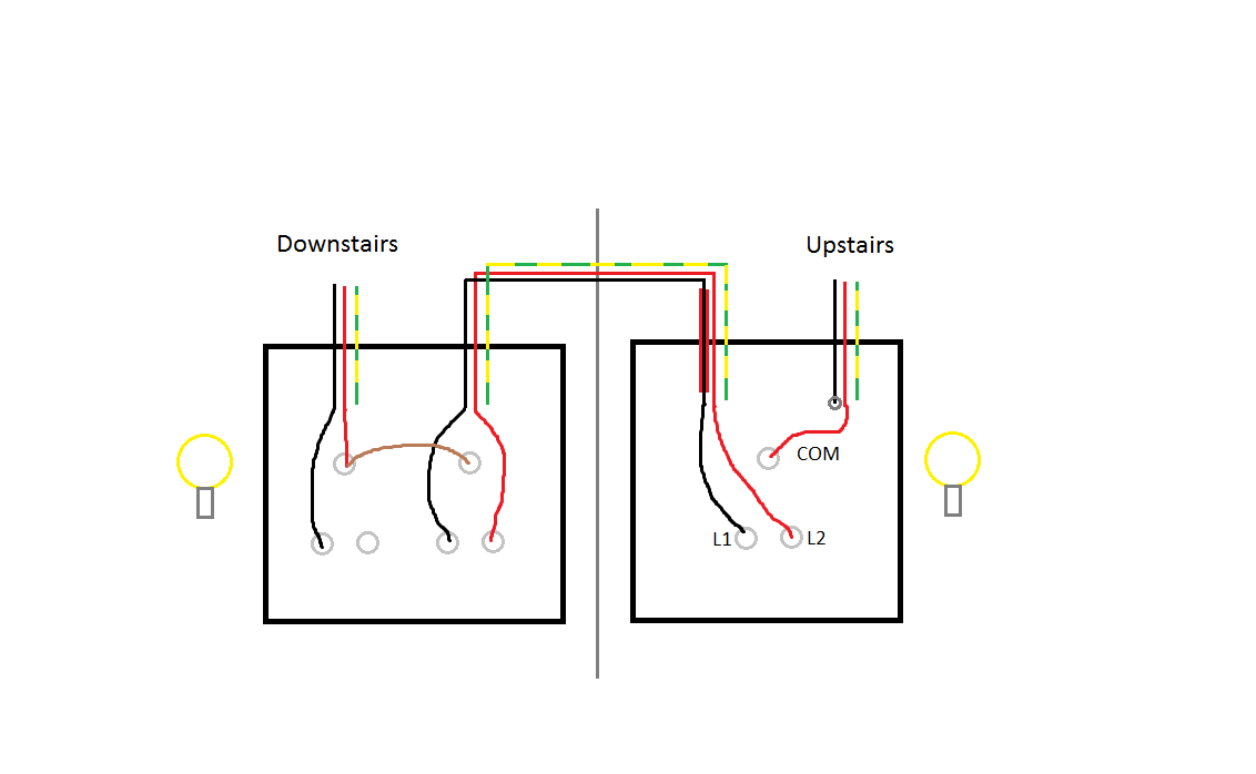 wiring a 4 gang 2 way light switch