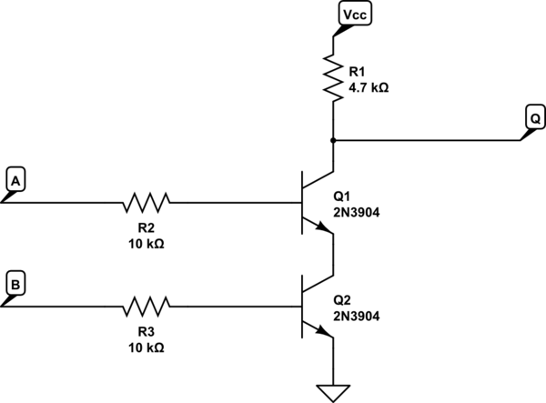 circuit diagram of nand gate using transistor